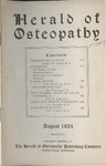 Herald of Osteopathy, August 1924 by Herald of Osteopathy