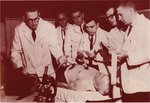 Making an EKG along Skid Row in the Salvation Army's Harbor Light Clinic, 1962